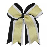 12pcs 5 inch gold / white 3 layered cheer bow clip-black
