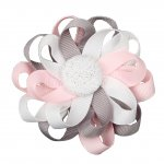 "12pcs 3"" Flower Loop Hair Bow NO Clip-Silver/Lt Pink/White"