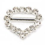 13mm 50pcs Heart Shape High Quality Rhinestone Buckle Invitation Ribbon Slider