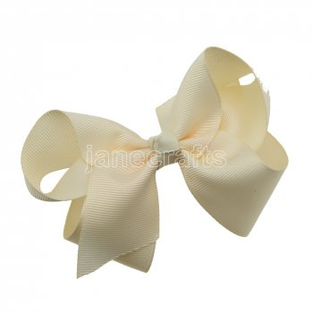 12pcs 4.5  Solid Grosgrain Chunky Boutique Hair Bows Without Clip-Cream
