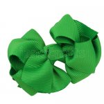 12pcs 2.5 inch layered boutique bow clip-emerald