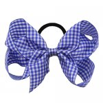 12 pcs school color royal gingham 5 inch boutique bow w/ pony tail holder