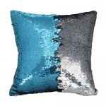 10pcs wholesale teal blue / silver two tone reversible sequin cushions cover pillow case