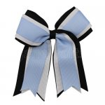 12pcs 5 inch black / white 3 layered cheer bow clip-bluebird