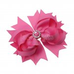 "12pcs 4.5"" Bling Spike Hair Bows with Rhinestone Slider Center With Clips-Hot Pink"