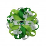 "12pcs 3"" Flower Loop Hair Bow with Ribbon Covered Clip-Clover"