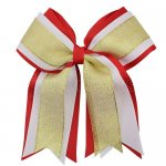 12pcs 5 inch gold / white 3 layered cheer bow clip-red