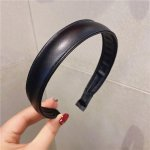 wholesale 5pcs Black 2.3cm Wide Thin PU Leather Headband for Girls Fashion Simple Vintage Hair Hoop for Women Headdress