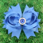 "12pcs 4.5"" Hair Bows with Acrylic Rhinestone Center With Clips-Royal"