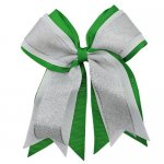 12pcs 5 inch silver / white 3 layered cheer bow clip-classical green