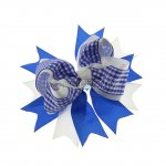 "12pcs 4.5"" Gingham Layered Spike Hair Bow Without Clip- Royal"