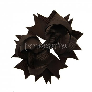 12pcs 4.5  Solid Spike Hair Bow Clips-Brown