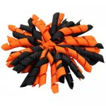 12 pcs school color black / orange grosgrain 5 inch korker bow w/ lined clips