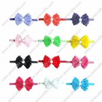 "12pcs 3"" Rose Lace Hair Bow Baby Headband with Beads 12 colors"