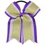12pcs 5 inch gold / white 3 layered cheer bow ponytail holder-purple