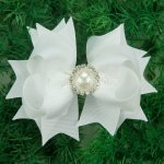 "12pcs 4"" Hair Bows with Pearl Rhinestone Center With Clips-White"