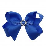 "12pcs 4.5"" Bling Chunky Boutique Hair Bows with Rhinestone Slider Center Without Clips-Royal"