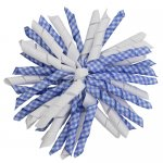 12 pcs school color white / lt.blue gingham 5 inch korker bow w/ lined clips
