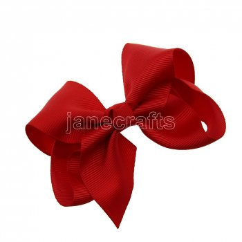 12pcs 3.5  Solid Grosgrain Chunky Boutique Hair Bows Without Clip-Poppy Red