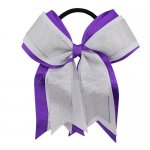 12pcs 5 inch silver / white 3 layered cheer bow ponytail holder-purple