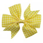 12 pcs school color yellow gingham 3 inch pinwheel bow w/ alligator clip