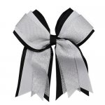 12pcs 5 inch silver / white 3 layered cheer bow clip-black