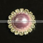 50pcs 21mm Round Metal Rhinestone Pearl Button Flatback Liliac