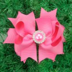 "12pcs 4"" Hair Bows with Pearl Rhinestone Center With Clips-Hot Pink"