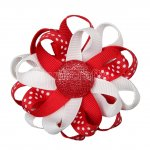 "12pcs 3"" Flower Loop Hair Bow NO Clip-Red/White"