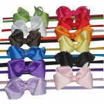 "12pcs 3.5"" Hair Bow Clips Hairbands mixed in 12 Colors"