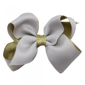 12pcs 3.5 inch gold layered boutique bow clip-shell grey