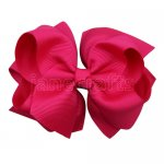 12pcs 4 inch layered boutique bow clip-shocking pink