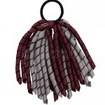 12 pcs school color grey / burgundy grosgrain 6 inch long korker bow w/ pony tail holder