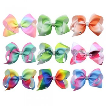 9 pcs 4.5 inch  colorful boutique Bow Clips with sparkle center
