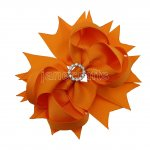 "12pcs 4.5"" Bling Spike Hair Bows with Rhinestone Slider Center With Clips-Torrid Orange"