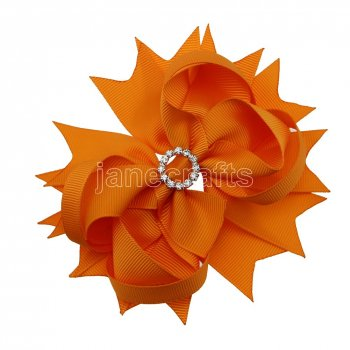 12pcs 4.5  Bling Spike Hair Bows with Rhinestone Slider Center With Clips-Torrid Orange