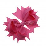 "12pcs 4.5"" Solid Spike Hair Bows NO CLIP-Hot Pink"