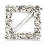 15mm 50pcs Square diamond Rhinestone Buckle Invitation Ribbon Slider For Wedding Supply Silver Color