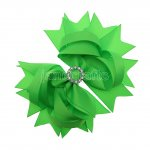 "12pcs 4.5"" Bling Spike Hair Bows with Rhinestone Slider Center With Clips-Acid Green"