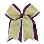 12pcs 5 inch gold / white 3 layered cheer bow clip-burgundy