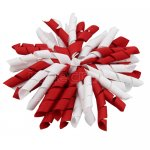 12 pcs school color white / red grosgrain 5 inch korker bow w/ lined clips
