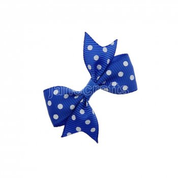 12pcs 2  Swiss Dot Spike Pigtail Hair Bows NO CLIP-Royal with white