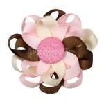 "12pcs 3"" Flower Loop Hair Bow NO Clip-Turfan/Lt Pink/Cream"