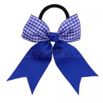 12 pcs school color royal / royal gingham 3.5 inch cheerleading bow w/ pony tail holder