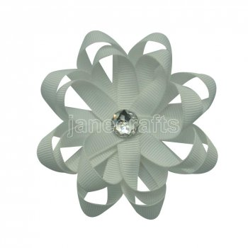12pcs 3  Layered Flower Loop Hair Bow Clips with Rhinestone Center-White