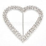 65mm 25pcs Heart Rhinestone Buckle Invitation Ribbon Slider For Wedding Supply Silver Color