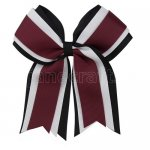 12pcs 5 inch black / white 3 layered cheer bow clip-burgundy