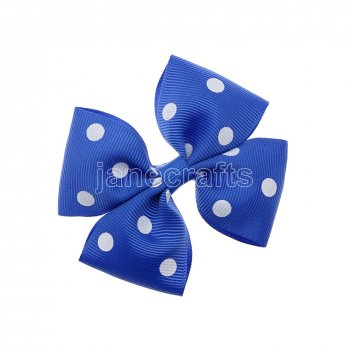 12pcs 3.5  Medium Grosgrain Pinwheel Hair Bow Clips-Royal with White Dot