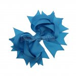 "12pcs 4.5"" Solid Spike Hair Bow Clips-Turquoise"