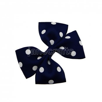 12pcs 3.5  Medium Grosgrain Pinwheel Hair Bow Clips-Navy with White Dot School Spirit
